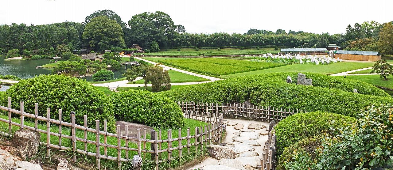 s-20150901 後楽園今日の園内庭園ビアガーデン片付けの様子ワイド風景 (1)