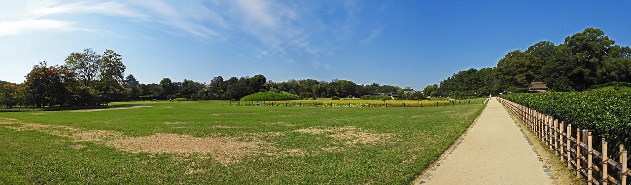 s-20150929 後楽園今日の茶畑前から眺めた園内ワイド風景 (1)