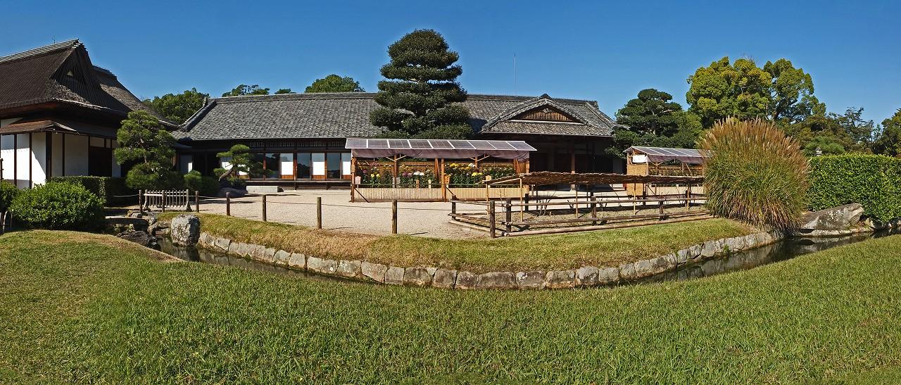 s-20151017 後楽園菊花大会開催日の鶴鳴館前庭の様子ワイド風景 (1)