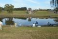 ひょうたん池で釣りをする人々