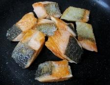 秋鮭と茸のガーリック照り焼き 調理②