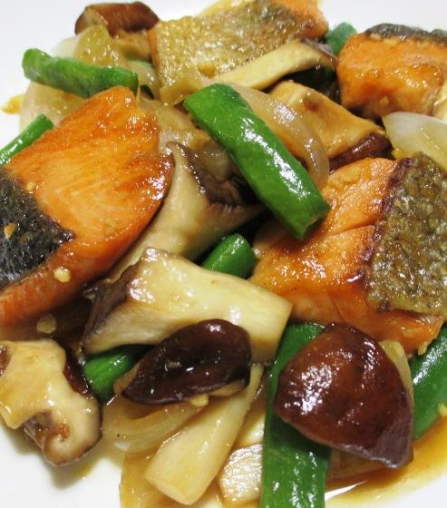 秋鮭と茸のガーリック照り焼き B