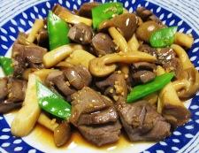 砂肝と茸のガーリックポン酢炒め 調理⑥