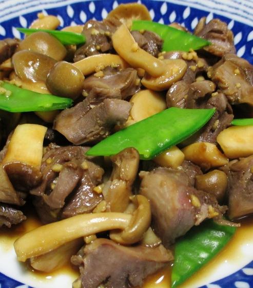 砂肝と茸のガーリックポン酢炒め 大