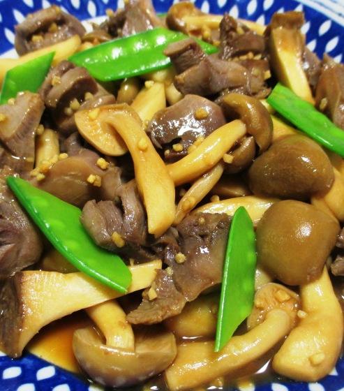 砂肝と茸のガーリックポン酢炒め B