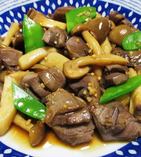 砂肝と茸のガーリックポン酢炒め 拡大