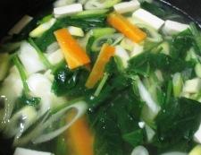 豆腐とほうれん草のスープ 調理