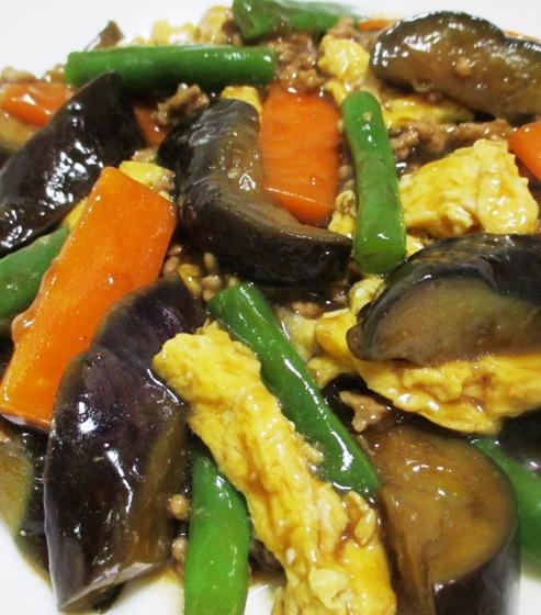 ナスと炒り卵の中華風甘味噌煮 大