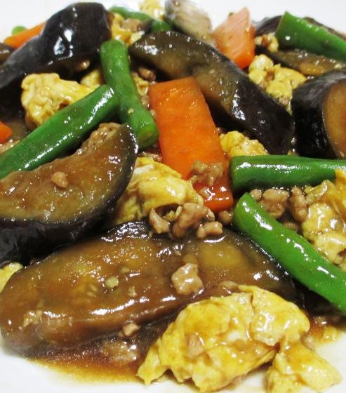 ナスと炒り卵の中華風甘味噌煮 B