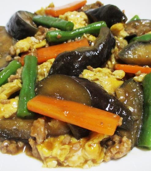 ナスと炒り卵の中華風甘味噌煮 拡大