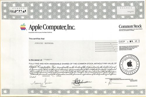 Stock certificate2000