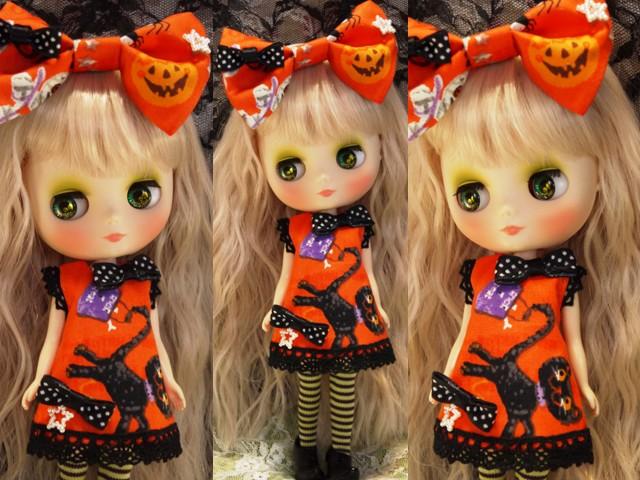 ◆ミディブライス服◆ハロウィン◇オレンジワンピ◇黒猫2