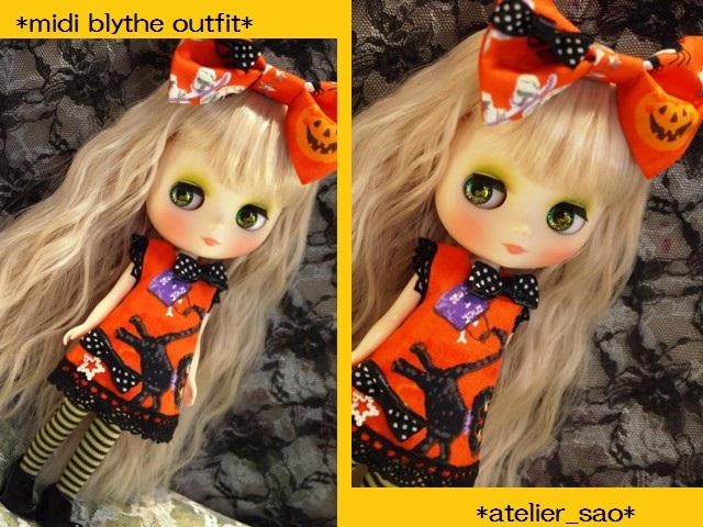 ◆ミディブライス服◆ハロウィン◇オレンジワンピ◇黒猫1