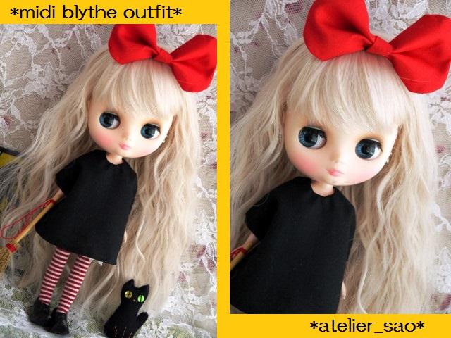 ◆ミディブライス服◆赤りぼんと黒ワンピ◇黒猫◇ハロウィン◇1