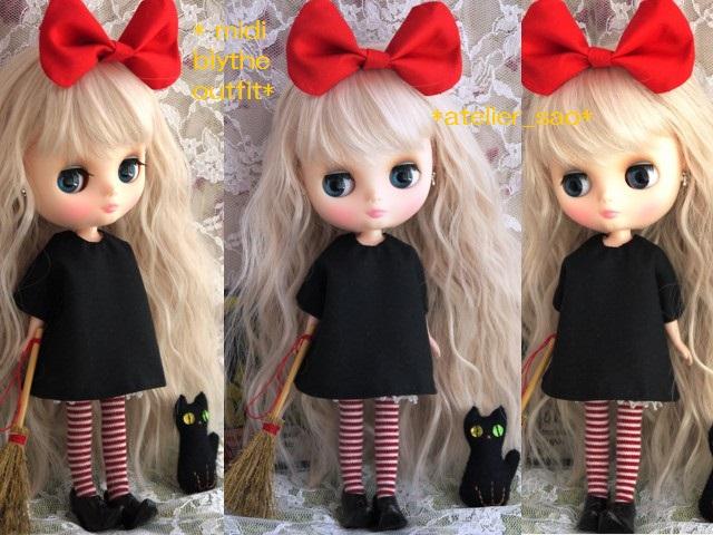 ◆ミディブライス服◆赤りぼんと黒ワンピ◇黒猫◇ハロウィン◇2