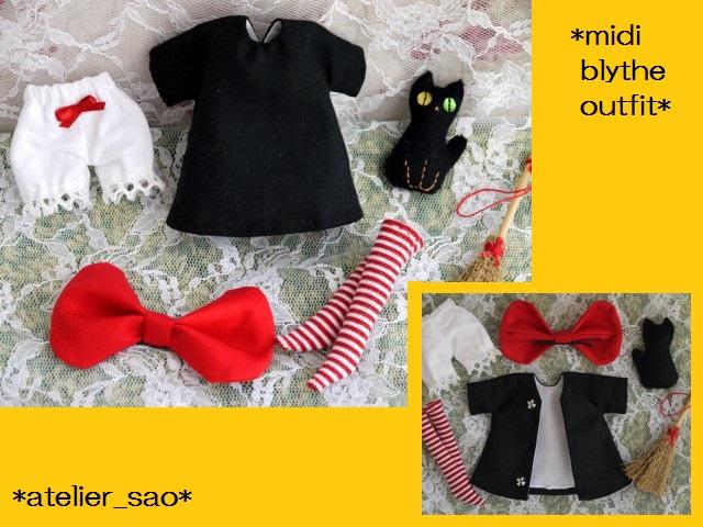 ◆ミディブライス服◆赤りぼんと黒ワンピ◇黒猫◇ハロウィン◇3