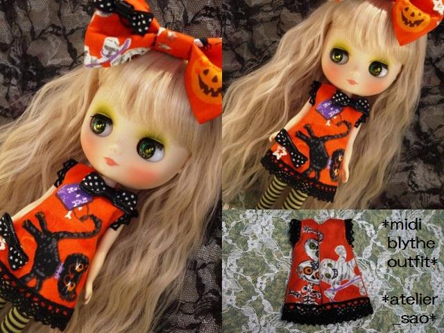 ◆ミディブライス服◆ハロウィン◇オレンジワンピ◇黒猫3
