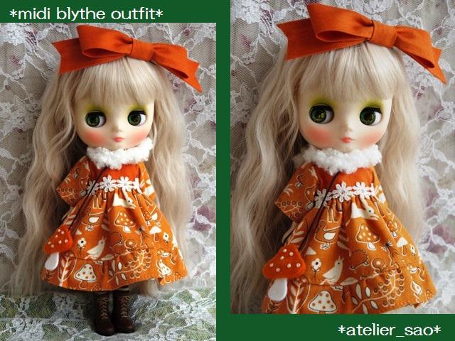 ◆ミディブライス服◆きのこの森のオレンジドレス◇1