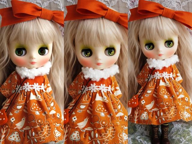 ◆ミディブライス服◆きのこの森のオレンジドレス◇2