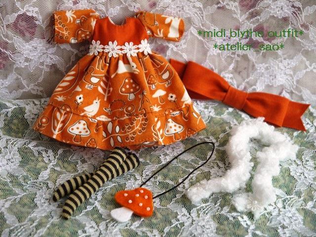 ◆ミディブライス服◆きのこの森のオレンジドレス◇3