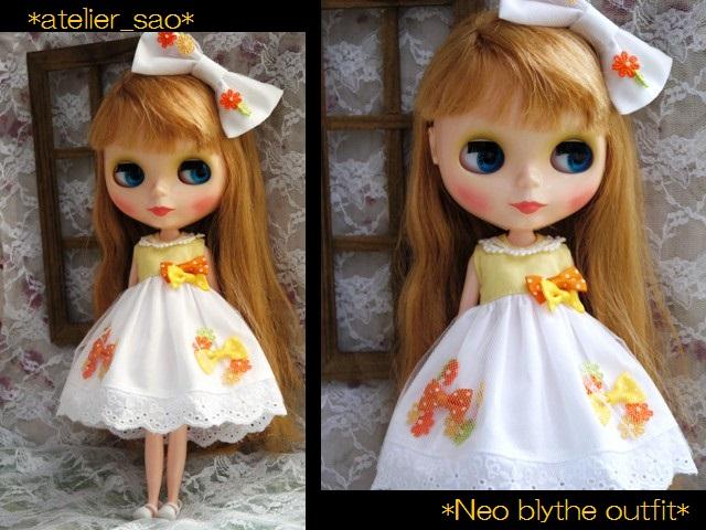 ◆ネオブライス服◆花とりぼん ライトイエロー×ホワイト◇ 1
