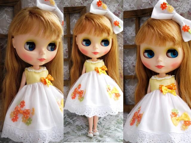 ◆ネオブライス服◆花とりぼん ライトイエロー×ホワイト◇ 2