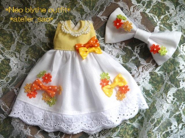 ◆ネオブライス服◆花とりぼん ライトイエロー×ホワイト◇ 3