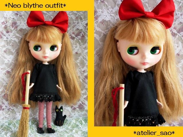 ◆ネオブライス服◆赤りぼんと黒ワンピ◇黒猫◇ハロウィンにも◇1