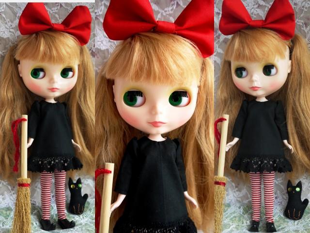 ◆ネオブライス服◆赤りぼんと黒ワンピ◇黒猫◇ハロウィンにも◇2