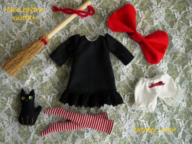 ◆ネオブライス服◆赤りぼんと黒ワンピ◇黒猫◇ハロウィンにも◇3