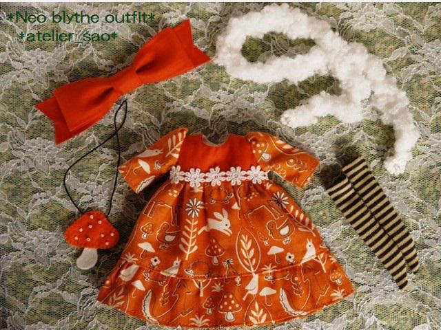 ◆ネオブライス服◆きのこの森のオレンジドレス◇ 3