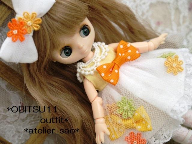 ◆オビツ11服◆花とりぼんライトイエロー×ホワイト◇1