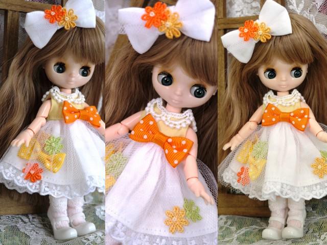 ◆オビツ11服◆花とりぼんライトイエロー×ホワイト◇2