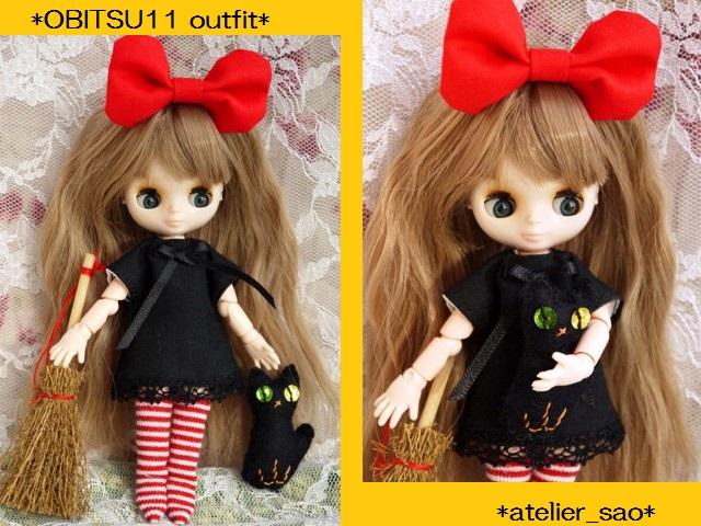 ◆オビツ11服◆赤りぼんと黒ワンピ◇黒猫◇ハロウィンにも◇1