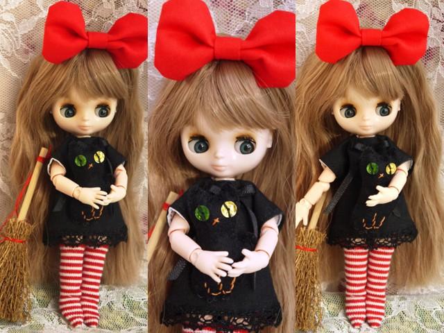 ◆オビツ11服◆赤りぼんと黒ワンピ◇黒猫◇ハロウィンにも◇2