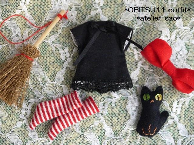 ◆オビツ11服◆赤りぼんと黒ワンピ◇黒猫◇ハロウィンにも◇3