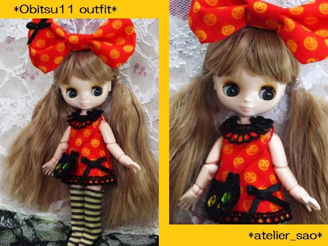◆オビツ11服◆かぼちゃ柄オレンジワンピ◇ハロウィン黒猫◇1