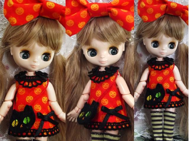 ◆オビツ11服◆かぼちゃ柄オレンジワンピ◇ハロウィン黒猫◇2