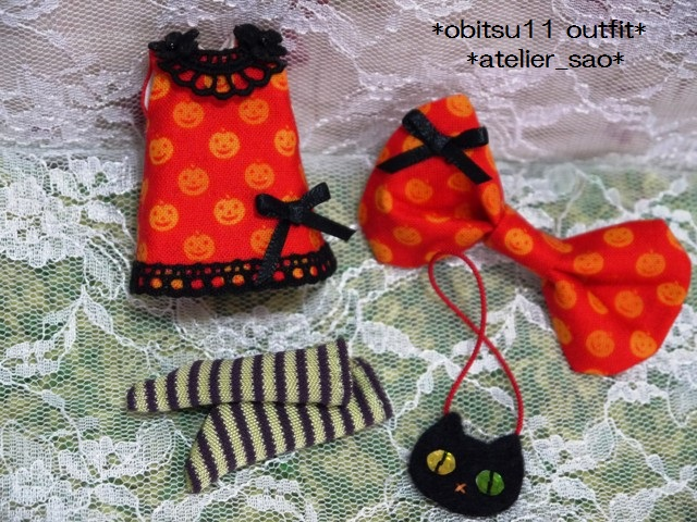 ◆オビツ11服◆かぼちゃ柄オレンジワンピ◇ハロウィン黒猫◇3