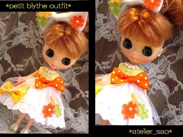 ◆プチブライス服◆花とりぼん ライトイエロー×ホワイト◇1