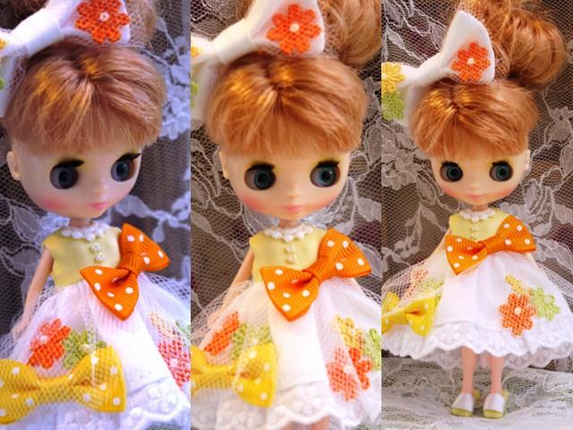◆プチブライス服◆花とりぼん ライトイエロー×ホワイト◇2