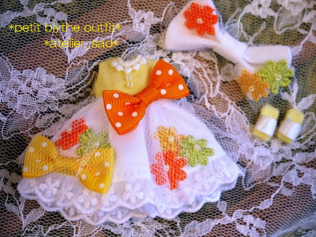 ◆プチブライス服◆花とりぼん ライトイエロー×ホワイト◇3