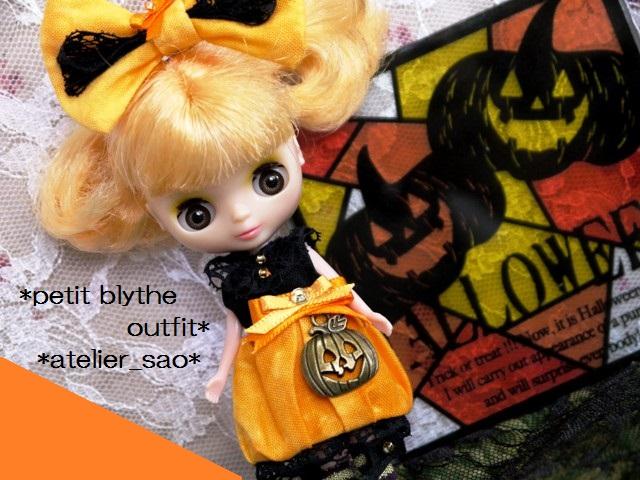 ◆プチブライス服◆ハロウィン(*^^*)かぼちゃドレス◇1