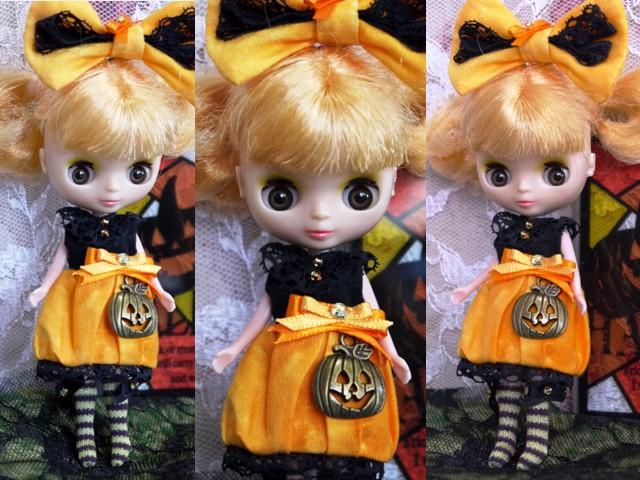 ◆プチブライス服◆ハロウィン(*^^*)かぼちゃドレス◇2