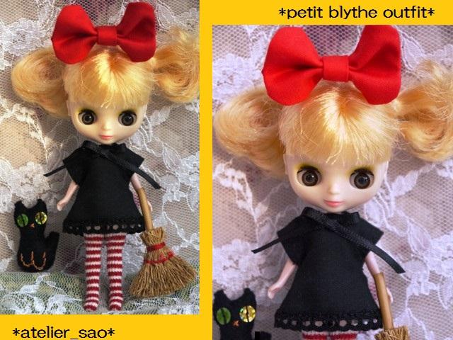◆プチブライス服◆赤りぼんと黒ワンピ◇黒猫◇ハロウィンにも◇1