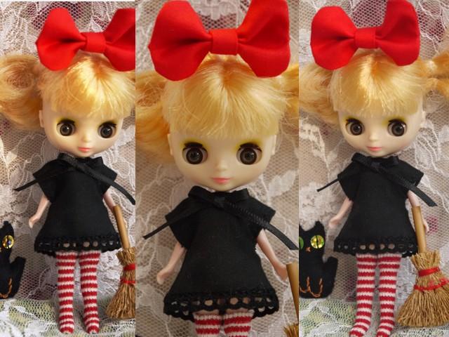 ◆プチブライス服◆赤りぼんと黒ワンピ◇黒猫◇ハロウィンにも◇2