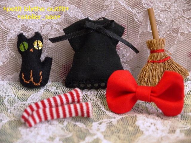 ◆プチブライス服◆赤りぼんと黒ワンピ◇黒猫◇ハロウィンにも◇3