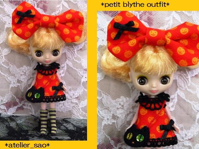 ◆プチブライス服◆かぼちゃ柄オレンジワンピ◇ハロウィン黒猫◇1