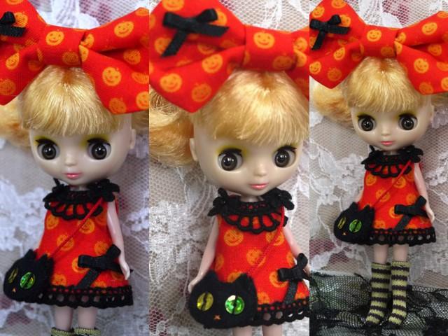 ◆プチブライス服◆かぼちゃ柄オレンジワンピ◇ハロウィン黒猫◇2