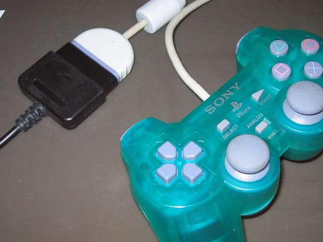 PS プレイステーションコントローラー DUALSHOCK デュアルショック SCPH-110 エメラルド メンテナス後、USB ゲームパッドコンバータ JY-PSUAD11 を使って動作確認テスト